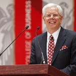 Paul Ferguson shows his happiness at being named Ball State University president during a news conference two years ago.