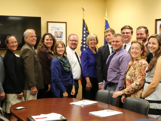The Wisconsin Farmers Union delegation presented the Golden Triangle Award to Senator Tammy Baldwin during the NFU Fly-In to Washington, D.C. Sept. 13.