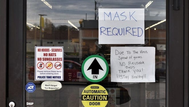 Stores, restaurants and businesses could be fined $100 if customers don't wear face masks.