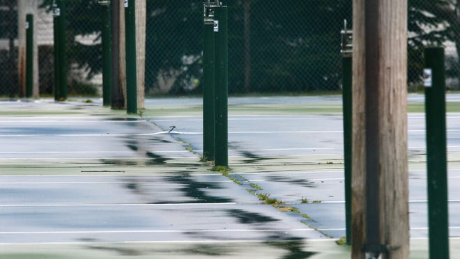 The City of Erie closed all tennis courts and took down nets, including those at Frontier Park (above on April 7), earlier during the COVID-19 shutdown. Now that Erie is in the yellow phase of reopening, the city has opened the courts and is planning to start its youth programs.