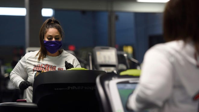 Landshark Fitness reopens, Monday, May 18, 2020, in Calallen. Gyms across the state reopened as part of Texas Gov. Greg Abbott's business plan. Photo by Annie Rice/Corpus Christi Caller-Times