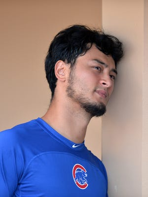 Chicago Cubs starting pitcher Yu Darvish looks on before a game against the San Diego Padres at Petco Park.