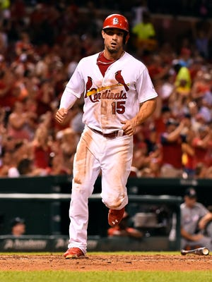 Randal Grichuk left Sunday's game after the seventh inning with elbow discomfort.