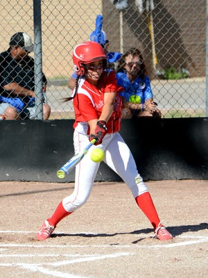 Loving's Anyssa Rodriguez makes contact at the plate Thursday against Jal.