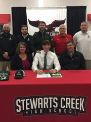 Stewarts Creek's Daniel Freeman signed a baseball scholarship with Columbia State Community College. Pictured in the front row are Heather Freeman, left, Daniel Freeman and Lee Freeman. In the back row are SCHS assistant coaches Ben Bowers, left, and Barry Bartlett, Columbia State Coach Mike Corn, SCHS Head Coach Mike Bartlett and assistant coach Brian Howard.