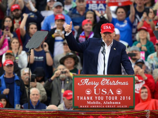 President -elect Donald Trump speaks to the crowd Saturday, December 17, 2016 during the last leg of his USA Thank You Tour 2016 at Ladd-Peebles Stadium in Mobile, Alabama.