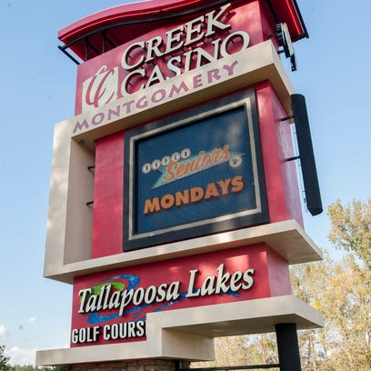The Tallapoosa Lakes Golf Course sign on the Creek Casino sign in Montgomery, Ala. on Wednesday October 28, 2015.