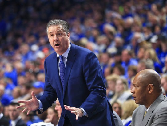 Kentucky John Calipari was his usual animated self