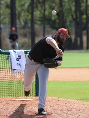 Michael Fulmer throws during spring training Feb. 19.