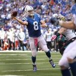 Indianapolis Colts quarterback Matt Hasselbeck (8) passes a TD pass to tight end Coby Fleener (80) in the second quarter of their game. The Indianapolis Colts play the Jacksonville Jaguars Sunday, October 4, 2015, afternoon at Luca Oil Stadium.