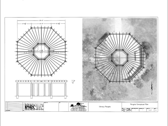 This conceptual plan, drawn by the City of Alamogordo's Engineering Department, shows a depiction of the the pavilion's roof as well as a profile view of the structure.