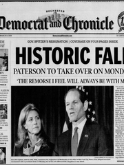 The front page of the March 13, 2008, edition of the Rochester Democrat and Chronicle. It was the day after former Gov. Eliot Spitzer resigned.