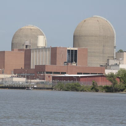 The Indian Point nuclear power plant. A boom surrounds