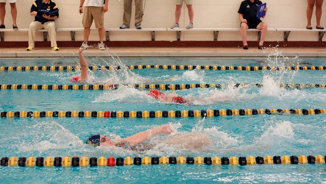 Swimmers compete in the 200 medley at the Waverly Relays, Wednesday, Aug. 23, 2017, at Waverly High School.