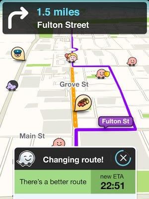 A screenshot of the navigation app Waze.