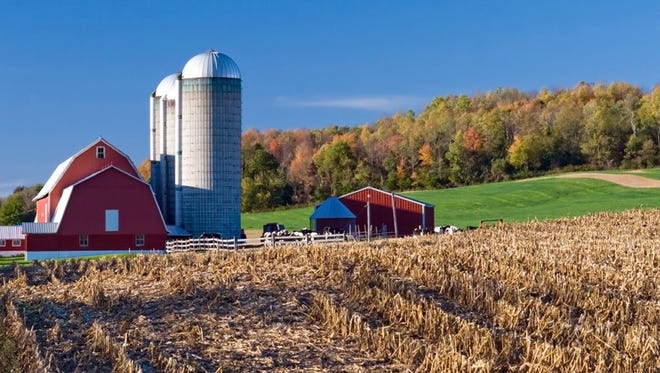 Brown County has 1,000 farms of varying sizes, including smaller operations with traditional red barns.