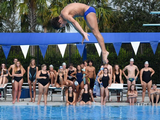 Sebastian River diver Jake Servaites, competing during a September tri-meet against Vero Beach and Jensen Beach, is the No. 1 seed for Saturday's Class 3A state meet at Sailfish Splash Waterpark in Stuart.