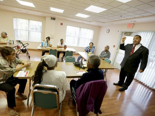 Sen. Coleman Young II answers questions from residents