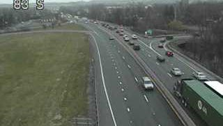 Traffic slows near Market Street on I-83 south Monday because of a crash near Queen Street.