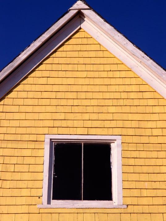 Facade of yellow house