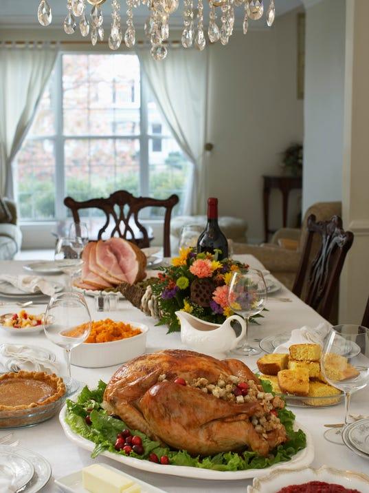 Thanksgiving dinner on table in elegant home