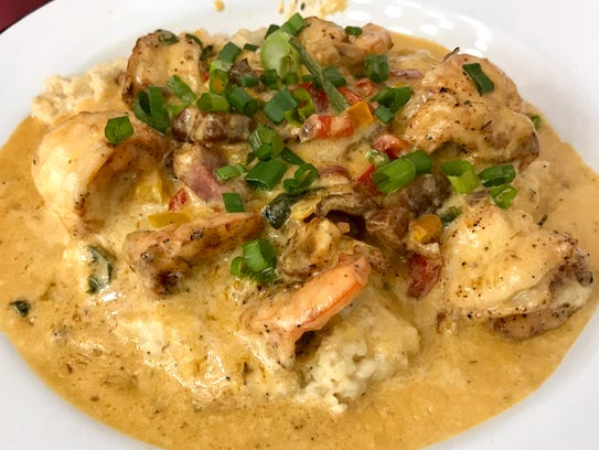 Florida Pink Shrimp and grits with a pepper pan sauce