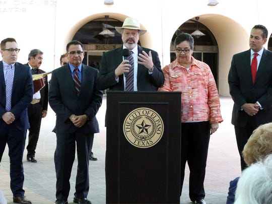 Former El Paso Mayor Oscar Leeser speaks with other dignitaries about the planned Mexican American Cultural Center in 2016 after city leaders said they could allocate another $10 million to it after restructuring debt.