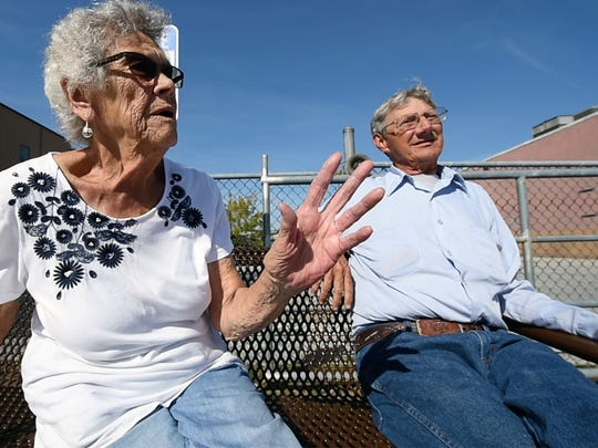 Phyllis Rhodes, left, and Charles Deitz live at Cloverfield-Kingston House, next to the Giant in West York. They walk to the Giant and say its upcoming closing will be difficult.