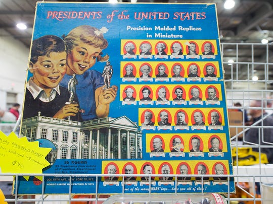 A Presidents of the United States game found at the Greater York Toy Extravaganza starts with George Washington and ends with Dwight Eisenhower.