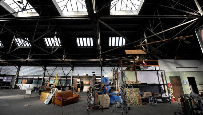 Large skylights highlight the interior of the Salvagery building in Reno on Jan. 24, 2011. A group of artists, called the Salvagery Collective, now call the old building home.