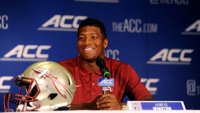 Florida State quarterback Jameis Winston addresses the media during the ACC football media day at the Grandover Resort.