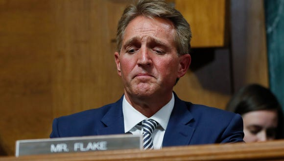 Sen. Jeff Flake, R-Ariz., after speaking during the