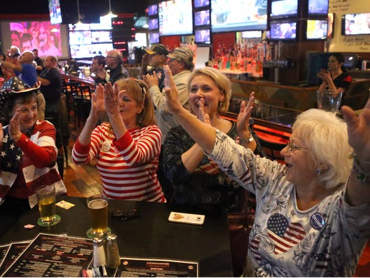 Supporters of Donald Trump celebrate as they watch his become the 45th President of the United States during his inauguration Friday, Jan. 20, 2017, at Hard Knocks Sports Bar in Corpus Christi, Texas.