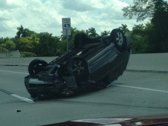 Car headed to Fort Myers rolls over on Midpoint Bridge
