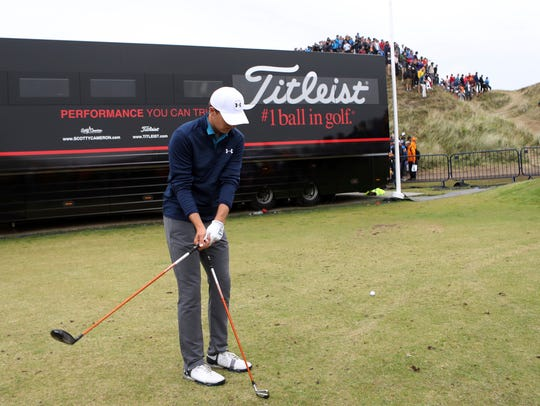Jordan Spieth prepares to play a shot on the 13th hole