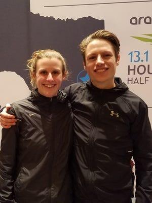 Katy and Tyler Jermann at the Chevron Houston Marathon.