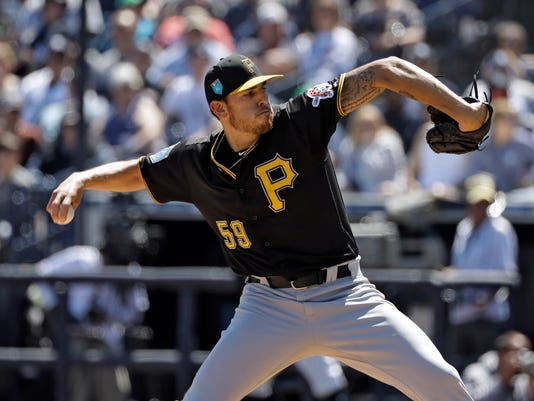Pittsburgh Pirates starting pitcher Joe Musgrove goes into his windup against the New York Yankees during the second inning of a spring training baseball game Thursday, March 15, 2018, in Tampa, Fla. (AP Photo/Chris O'Meara)