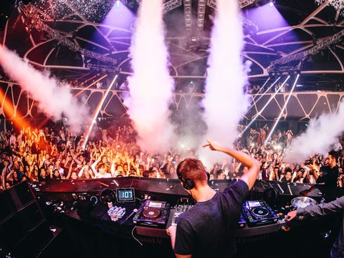 Just because he's the world's highest paid DJ doesn't mean he gets the night off.