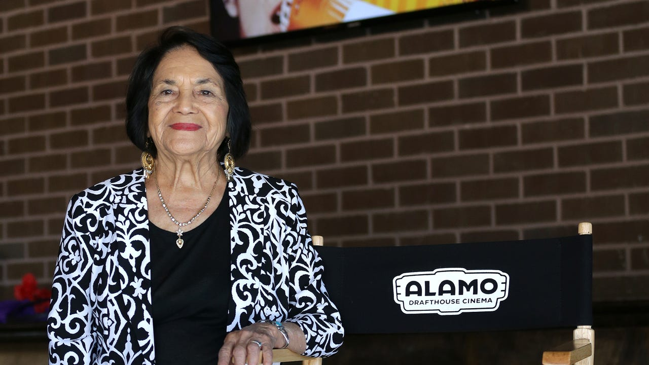 Civil rights icon Dolores Huerta speaks after a screening of the new documentary 'Dolores' at Alamo Drafthouse.