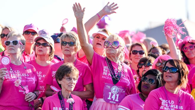 Survivors recognized during the 2017 Komen Evansville Tri-State Race for the Cure at Eastland Mall Sunday, September 24, 2017.