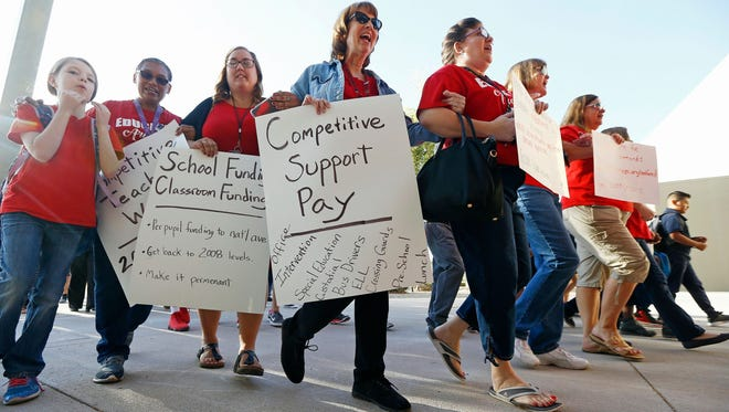 Teachers protest in Phoenix on April 11, 2018.