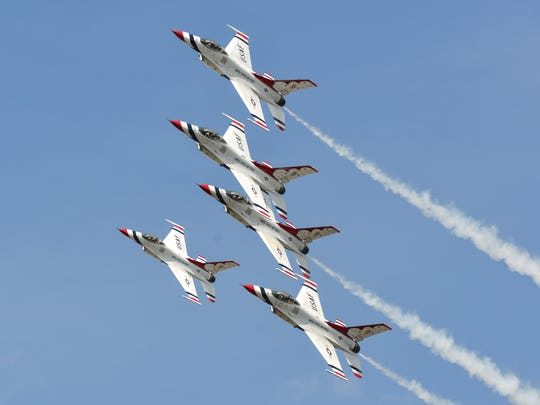 The United States Air Force Thunderbirds fly into Battle Creek Thursday afternoon as they practice some of their manuvers before the upcoming air show at the Field of Flight.