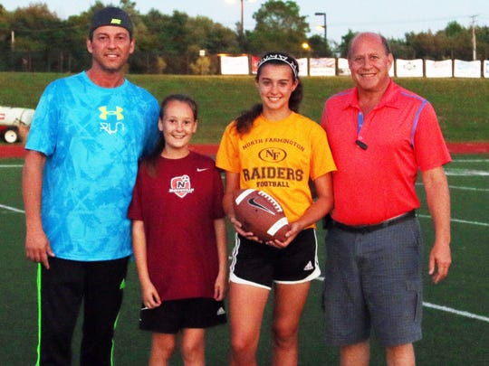 Former NFL player Pete Stoyanovich, his daughter, Sasha, Lynn Lerner and her dad, Richard, after some training with the pro.