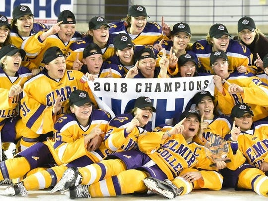 Elmira College players after they won the UCHC championship game March 3 at the Murray Athletic Center.