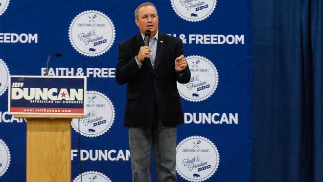 U.S. Rep. Jeff Duncan recalls his scheduler Thomas McAllister, of Anderson, driving him to the baseball fields and encountering a shooter June 14, during his speech at the 7th Faith and Freedom Barbecue at the Civic Center of Anderson on Monday.