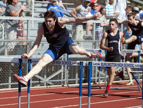 Mount Mansfield's Alec Eschholz competes in the 110-meter