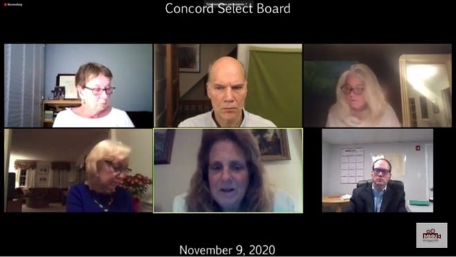 The Concord Select Board is seen during its virtual meeting on Nov. 9.