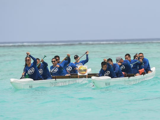 The IT&E Guam team push for a victory during the 9th