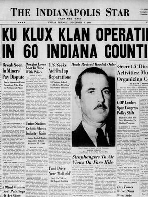 In a front page article on Nov. 8, 1946, the Indianapolis Star exposed the re-emergence of the Ku Klux Klan in Indiana