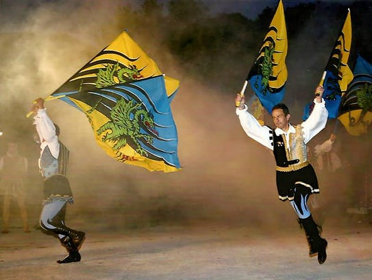 The Grouppo Storico Fivizzano flag waving troupe with